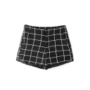 Black Classic Checker Print Double Side Pockets Shorts
