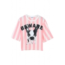 Pink Striped Dog Print Short Sleeve Tee