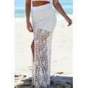 White Lace Cutout Split Front Maxi Skirt