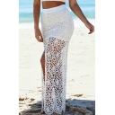 White Lace Cutout Split Front Maxi Skirt