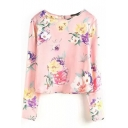 Floral Print Round Neck Long Sleeve Crop Blouse