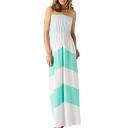 Color Block Strapless Boho Maxi Dress