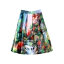 Villa Print High Waist Midi Full Skirt