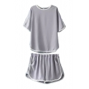 Gray Contrast Trim Chiffon T-Shirt&Shorts Co-ords