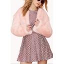 Pink Plain Sweat Open Front Collarless Faux Fur Coat