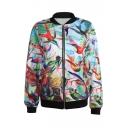 Colorful Birds&Leaves Print Baseball Jacket