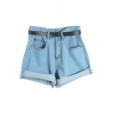 Plain Denim Oversize Belted Shorts in Loose Fit