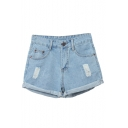 Dark&Light Blue Denim Distressed Shorts with Zipper Fly