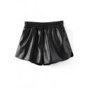 Black Sexy Casual PU Shorts with Elastic Waist