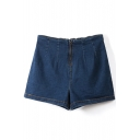 Blue Denim Plain Zippered Elastic Waist Shorts