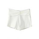 White Bow Waist Casual Shorts