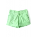Plain Seam Detail Casual Shorts