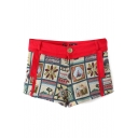 Red Vintage Ethnic Style Casual Shorts