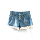 Blue Denim Shorts with Lace Hem&Three Button Fly