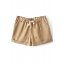 Khaki Apple Embroidered Drawstring Waist Shorts