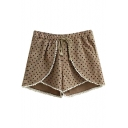 Khaki Dot Print Lace Trim Fold Layer Shorts