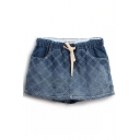 Ombre Blue Checker Embroidered Denim Skorts