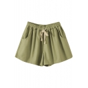 Light Green Drawstring Waist Casual Loose Shorts