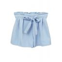 Blue Sweet Bow Tie High Waist Wide Leg Shorts