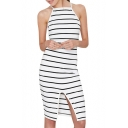 White Background Black Stripe Camis Midi Pencil Dress