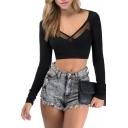 Black Long Sleeve V-Neck Sheer Detail Crop T-Shirt