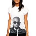 White Short Sleeve Kanye West Print T-Shirt