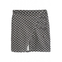 Polka Dot Print Fitted Split Front Skirt