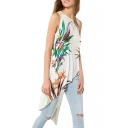 White Floral Print Sleeveless Asymmetrical Hem Dress