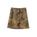 Green Camo Print Button Fly Denim Skirt