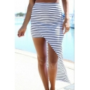 Stripe High Low Hem Cotton Skirt