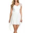 White V-Neck Cap Lace Sleeve Chiffon Princess Style Dress