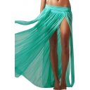 Plain Beach Style Split Sexy Longline Skirt