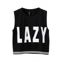 Lazy Print Stripe Hem Sleeveless T-Shirt