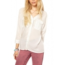 White V-Neck String-Up Back Long Sleeve Shirt