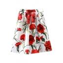 White Elastic Waist Carnation Print A-Line Skirt