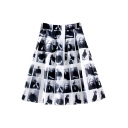 White High Elastic Waist Character Print Skirt