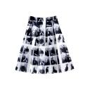 White High Elastic Waist Character Print Skirt