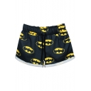 Batman Print Cuffed Sports Shorts with Drawstring Waist