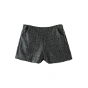 Gray Plaid Pockets Zipper Fly Woolen Shorts