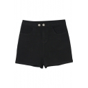 Plain High Waist  Denim Shorts with Double Button Front
