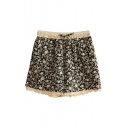 Navy Background Elastic Waist Floral Print Line Lace Insert Shorts