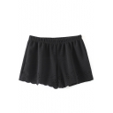 Black Plain Elastic Waist Cutout Wide Leg Shorts