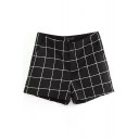 Black Modern Plaid Pattern High Waist Shorts