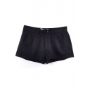 Plain  Mid Rise Zipper Fly Pockets Shorts