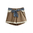 Khaki Dot Print Lace Insert Shorts with Flora Belt