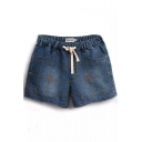 Dark Blue Vintage Clock Embroidered Drawstring Waist Denim Shorts