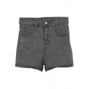 Black Elastic High Waist Denim Shorts
