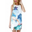 White Sleeveless Crew Neck Split Hem Flower Mini Dress