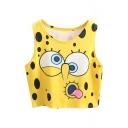 Yellow SpongeBob Print Crop Tank