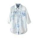 Water Wash Light Blue 3/4 Sleeve Denim Shirt